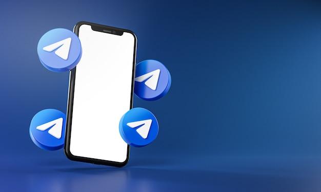 Иконки telegram вокруг приложения для смартфона 3d-рендеринг