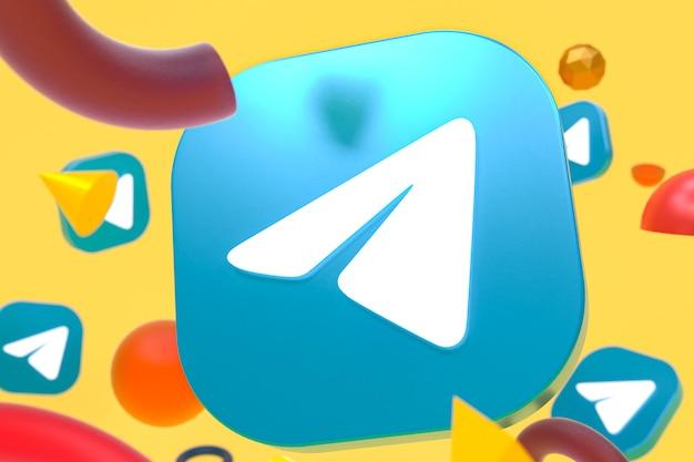 Telegram logo on abstract geometry background