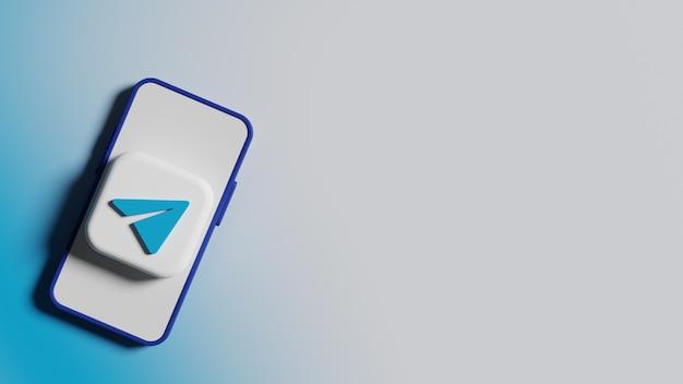전화 화면 배경 프리미엄 사진의 전보 로고 버튼