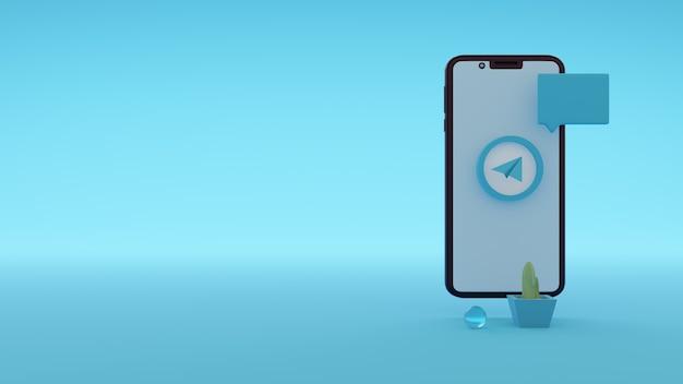 Значок логотипа telegram на экране смартфона 3d