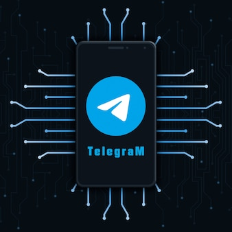 Значок логотипа telegram на экране телефона на фоне технологии 3d