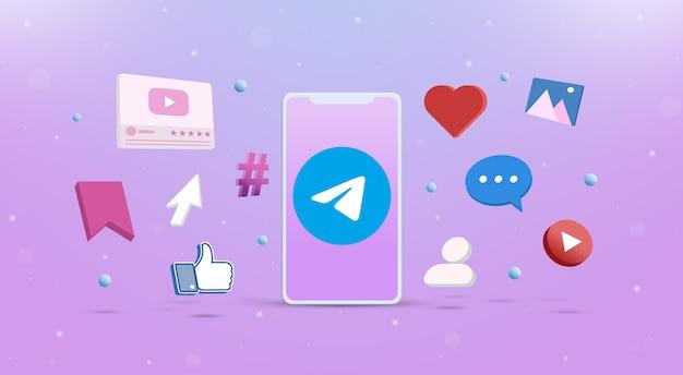 Значок логотипа telegram на телефоне с иконками социальных сетей вокруг 3d