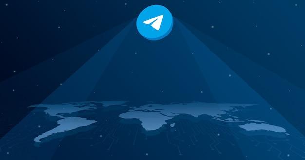 세계지도 3d의 모든 대륙에 전보 로고 아이콘