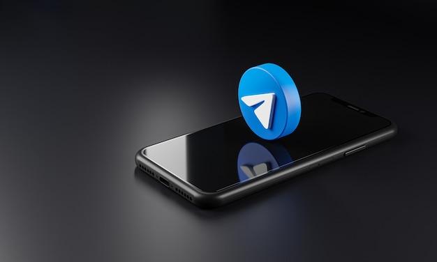 Telegram logo icon over smartphone, 3d rendering