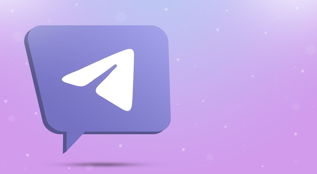 Telegram logo icon on speech bubble 3d