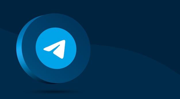 Минималистичный дизайн логотипа telegram на круге 3d