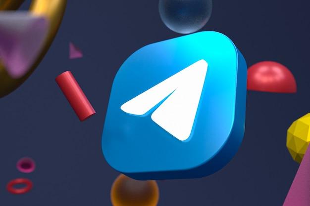 Логотип telegram на абстрактном геометрическом фоне