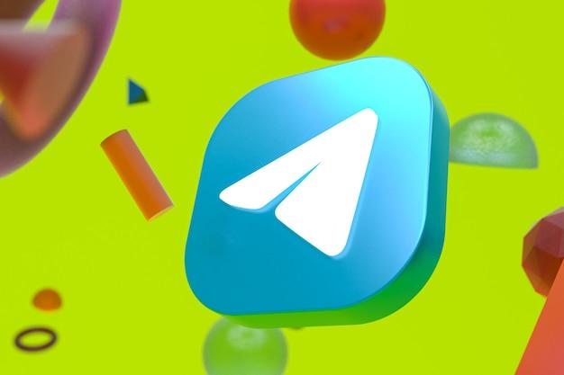Логотип telegram на фоне абстрактной геометрии