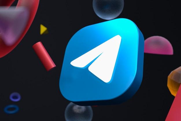 Логотип telegram на абстрактной геометрии