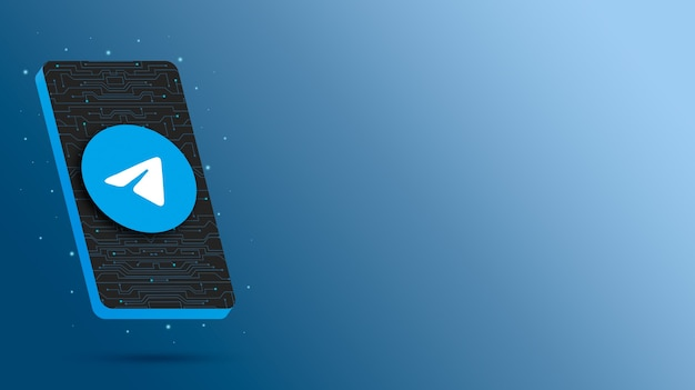 Логотип telegram на технологическом дисплее телефона 3d визуализации