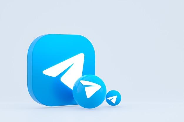 Telegram минимальный логотип 3d-рендеринга крупным планом для дизайна фона шаблона