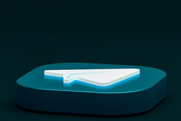 Telegram минимальный логотип 3d-рендеринга