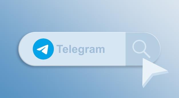 Телеграмма на панели поиска с курсором мыши 3d