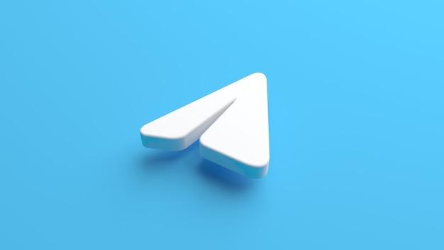 Значок самолета telegram, выделенный на синем фоне в 3d-рендеринге