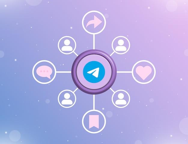 Логотип социальных сетей telegram на круглой кнопке с типами социальных действий и значками пользователей 3d