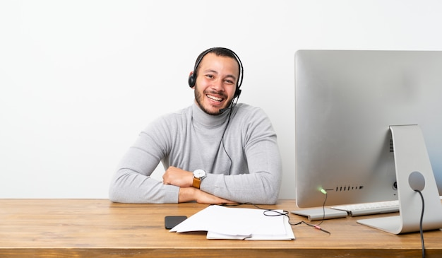 Telemarketer colombian man smiling