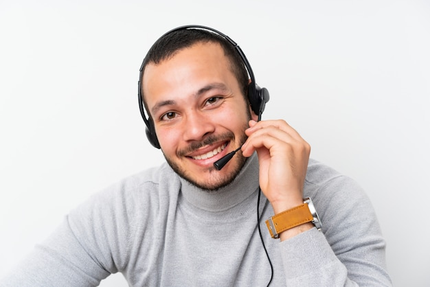 Telemarketer colombian man working in a office