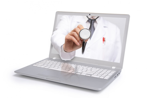 Telemedicine concept, doctor with a stethoscope on the computer laptop screen,