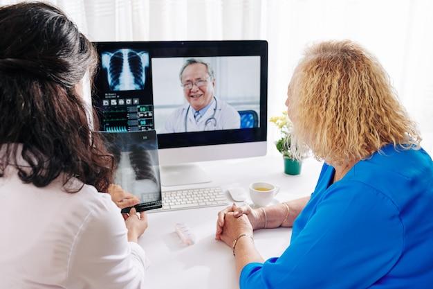 폐 질환 전문의와 원격 진료 세션