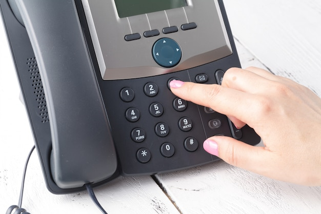 Telephone dialing, contact and customer service concept