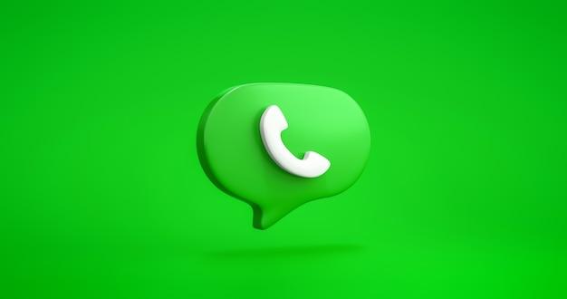 전화 아이콘 기호 또는 통신 연락처 서비스 전화 통화 기술 및 비즈니스 지원 모바일 다이얼 사인 채팅 거품은 고객 수신기 운영자 핫라인과 함께 녹색 배경에 있습니다. 3d 렌더링.