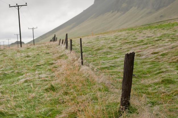 牧草地の丘の上で消える電柱と有刺鉄線のフェンスのポスト