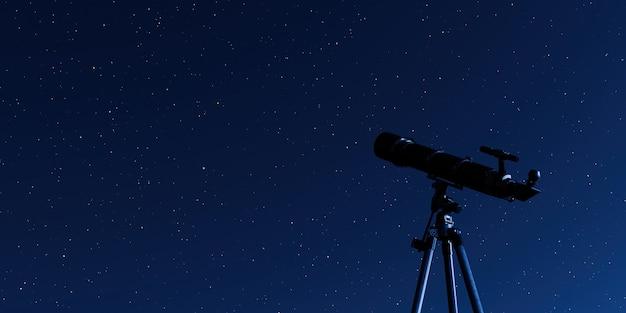 별이 빛나는 하늘과 삼각대에 망원경