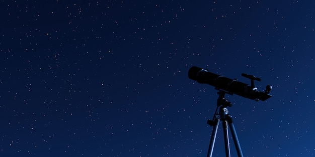 Telescope on tripod with a starry sky