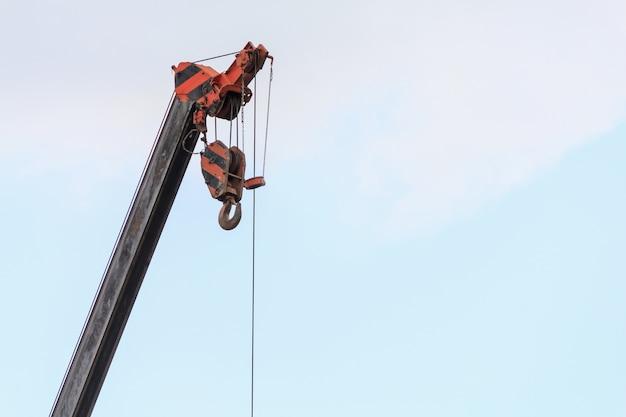 Telescopic arms of mobile construction crane truck