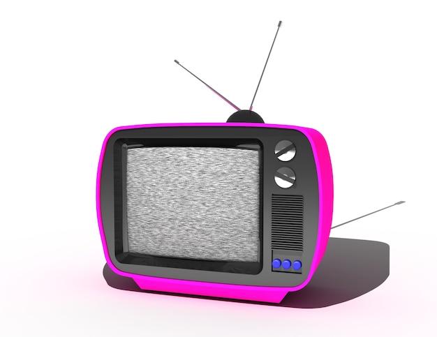 Концепция средств массовой информации телевидения, телекоммуникаций и радиовещания, ретро тв-приемник. 3d иллюстрации