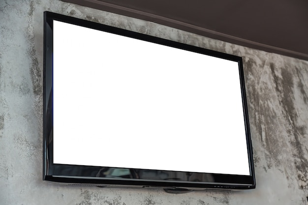 Television with blank screen on the wall