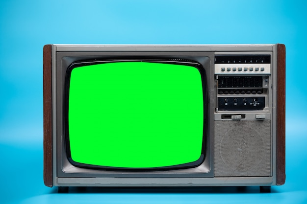 Television with green screen.