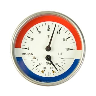 온도 및 압력 측정기. 흰색 절연