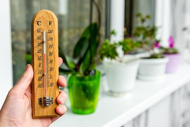 バルコニーの植物の温度。