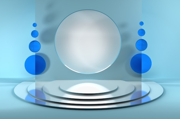Template composition with circle blank space and blue glass mirror decor