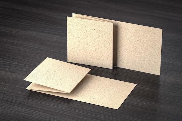 브랜딩 디자인을위한 템플릿 공예 골판지 선물 카드 또는 명함-어두운 표면에 절연