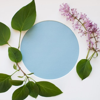 Template made of leaves, blooming lilac flowers, and a round frame on white background