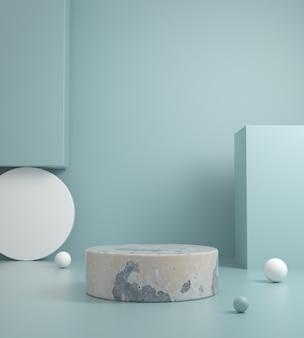 Шаблон минимальной бетонной платформы на пастельных синий цвет 3d визуализации