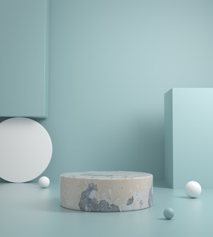 Template minimal concrete platform on pastel blue color 3d render