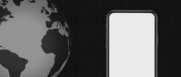 Шаблон, макет экрана последних новостей на тв, видео, в интернет-газетах и журналах. copyspace для вставки изображения и текста. темно-черный фон и глобус с экраном смартфона.