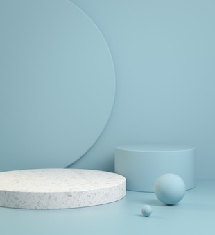 Template modern minimal blue pastel geometry shape for show product with marble abstract background 3d render