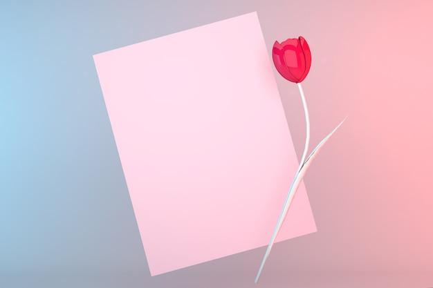 はがきのテンプレート。パステルカラーの背景の上面図。ピンクのチューリップ、署名用はがき。バレンタインデーのモックアップ