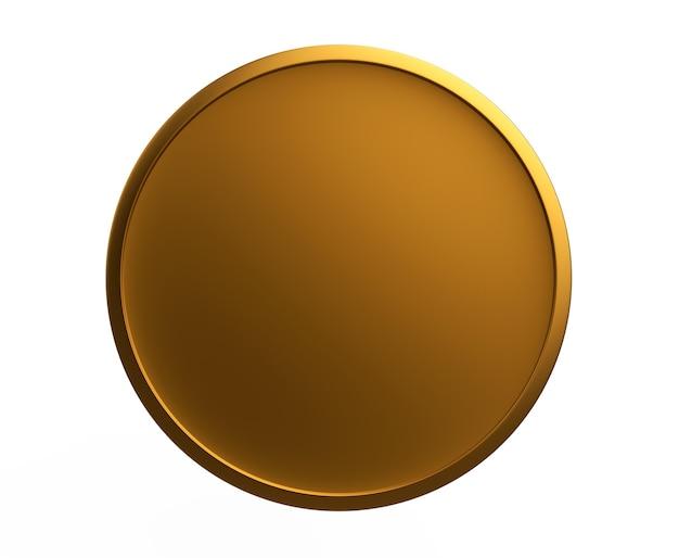 흰색 배경에 고립 된 금 질감이 있는 둥근 금속 동전 또는 단추 템플릿