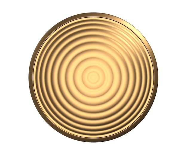 흰색 배경에 고립 된 물결 모양의 금 질감이 있는 둥근 금속 동전 또는 단추 템플릿