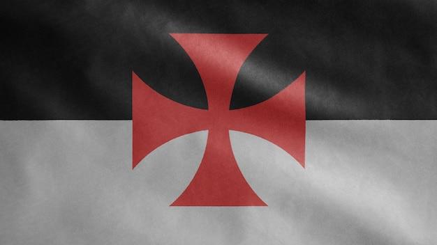 テンプル騎士団のテンプレート、中世のカトリックの軍事秩序。キリストの貧しい仲間の兵士とソロモンの神殿の旗を閉じます。