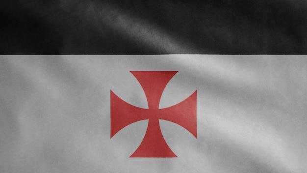 テンプル騎士団のテンプレート、中世のカトリックの軍事秩序。キリストの貧しい仲間の兵士とソロモンの神殿の旗。布生地テクスチャ少尉背景