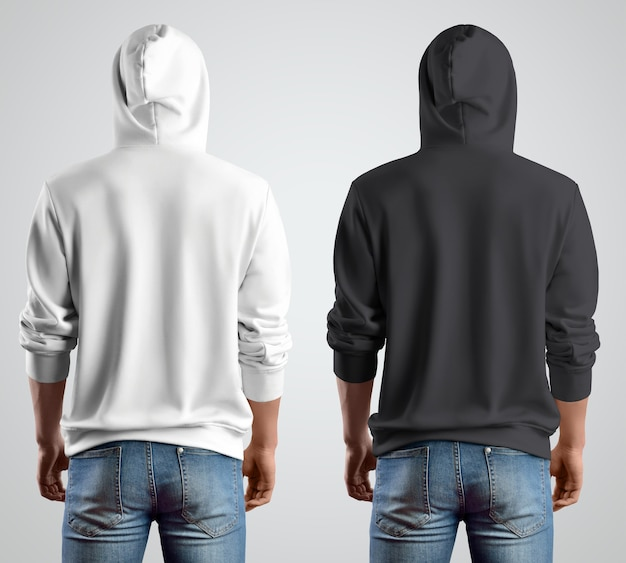Шаблон с капюшоном белый и черный макет на молодого парня, вид сзади. дизайн современной одежды для магазина. макет одежды на продажу.