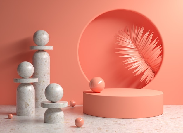 Template platform peach color tone with abstract geometry stone and palm leaves background 3d render