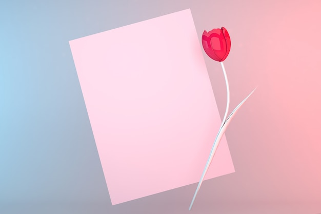 Template of postcard. top view on a pastel background. pink tulip, postcard for signature. mockup for valentine's day