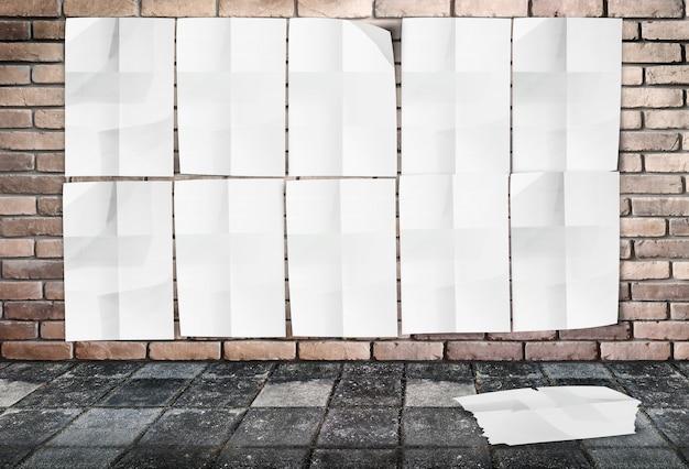 レンガの壁と踏面の地面には、くぼんだポスターのテンプレート - 壁